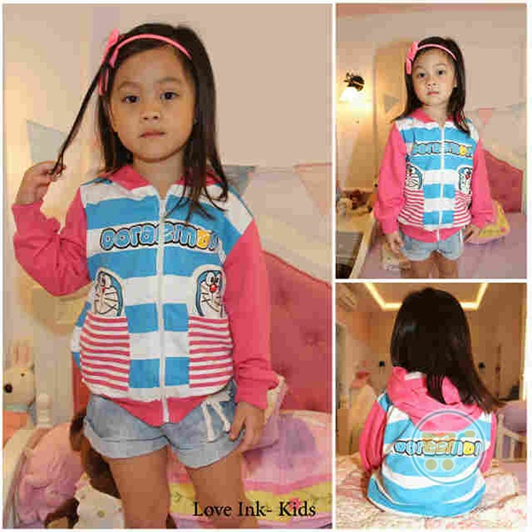 Jaket Doraemon Face Pocket Stripe (L dan XL)