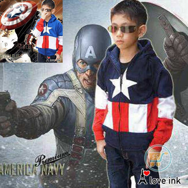 Jaket Captain America Blue And Navy (L dan XL)