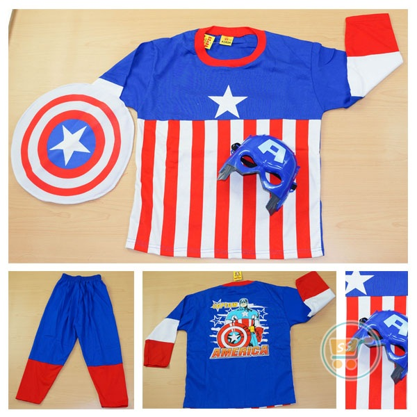 Setelan Captain America With Mask ( Ukuran 4 - 20)