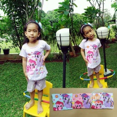 Setelan Little Pony Flower Salur (Ukuran 4 - 8)