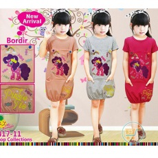 Dress Little Pony Balloon Bordir (Ukuran 8 - 12)