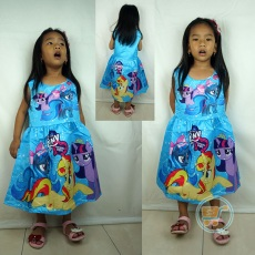 Dress Little Pony Blue Girly Impor (Ukuran 90 - 130)