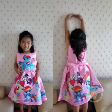 Dress Little Pony Pink Girly Impor (Ukuran 90 - 130)