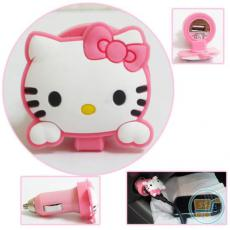 Sambungan Charger Mobil Hello Kitty (Putih)