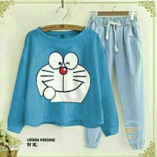 Setelan Doraemon Smile Denim