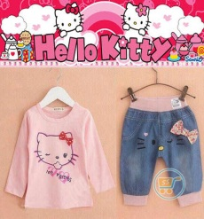 Setelan Hello Kitty Cute Face Denim