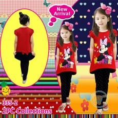 Setelan Minnie Mouse Cute Love (Ukuran 8 - 12)