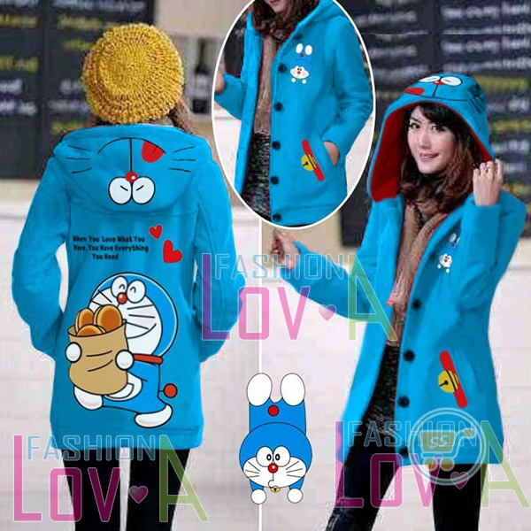 Jaket Doraemon Dorayaki Everything Hoodie Long
