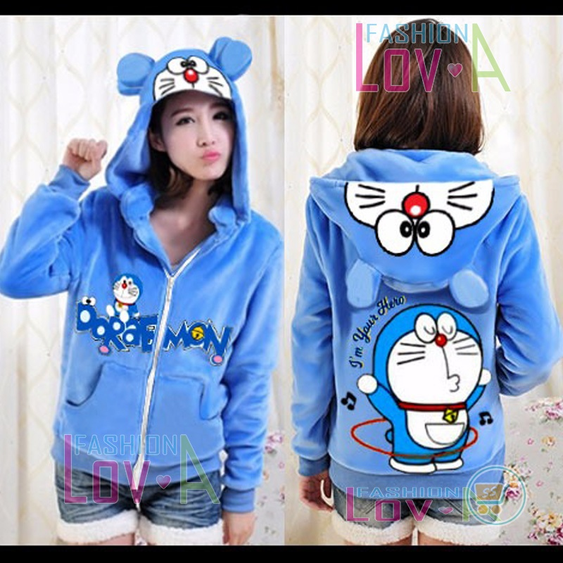 Jaket Doraemon Hullahup Cute Ears