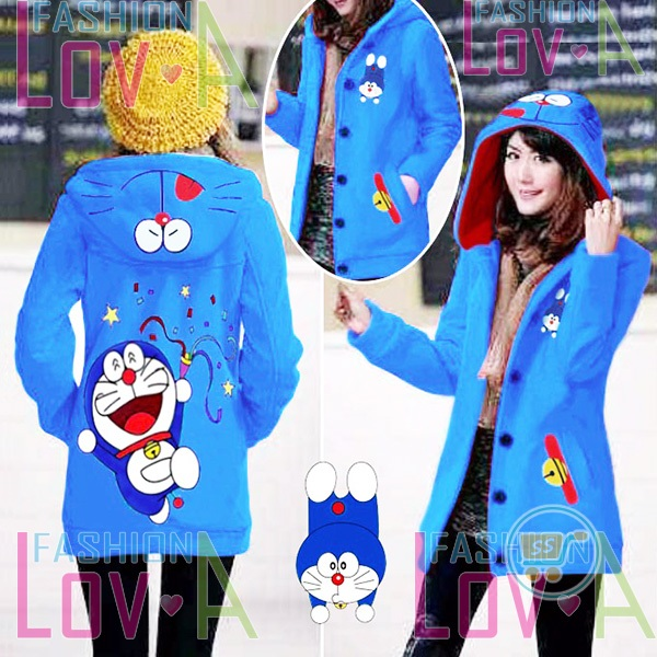 Jaket Doraemon Party Hoodie Long