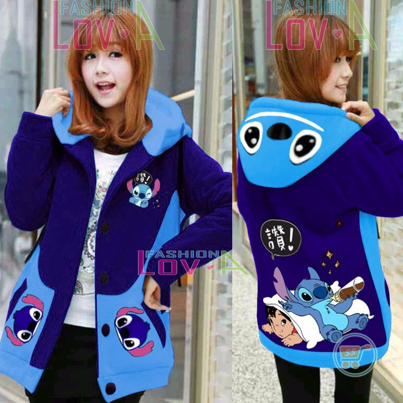 Jaket Stitch Lilo Together Hoodie Korea