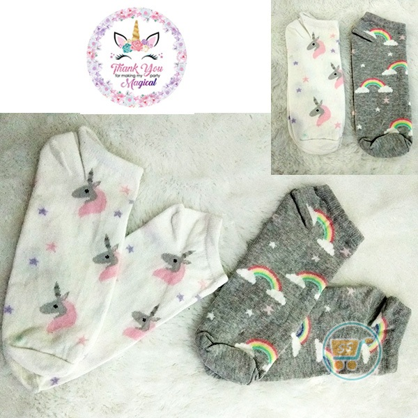 Kaos Kaki Unicorn Rainbow