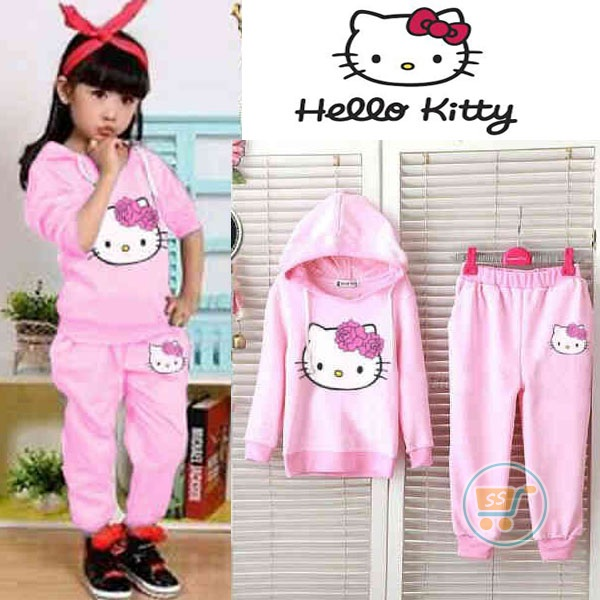 Setelan Anak Hello Kitty Head Pink