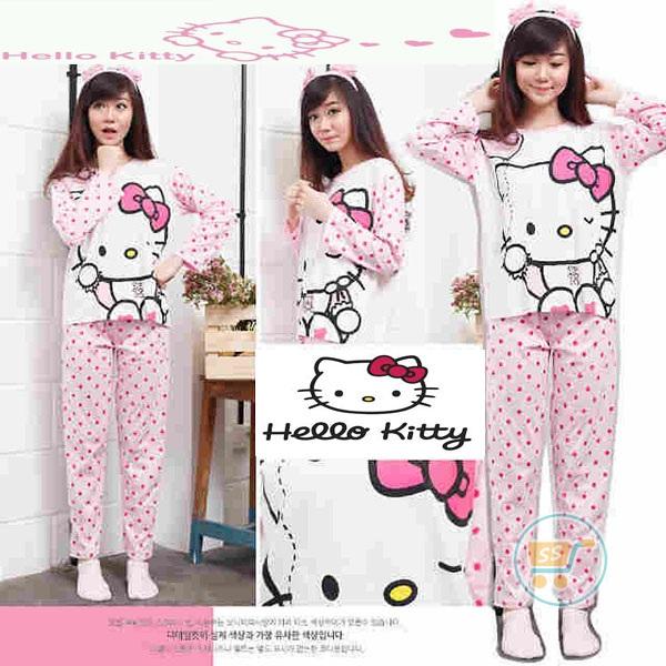 Setelan Panjang Hello Kitty Fullprint Polkadot
