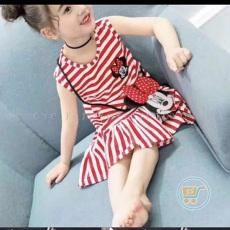 Dress Minnie Mouse Salur With Bag