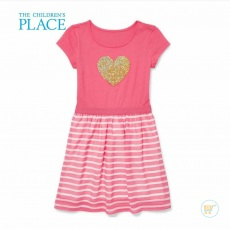 Dress Place Heart Pink Stripe Flip Sequin