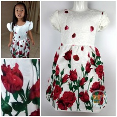 Dress Rose Flower Impor (Ukuran 17 - 25)