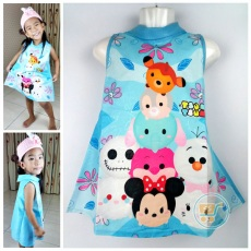 Dress Tsum Tsum Blue (Ukuran 4 - 14)