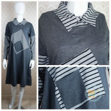Kemeja Dress Grey Pocket
