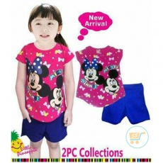 Setelan Mickey Minnie Head Ribbon (Ukuran 8 - 12)