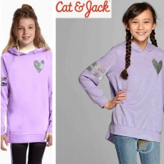 Sweater Cat And Jack Heart Purple Flip Sequin