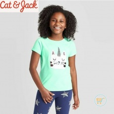 Tshirt Cat & Jack Cutie CatHorn Flip Sequin