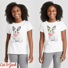 Tshirt Cat & Jack Dog Flower Sunglasses Flip Sequin