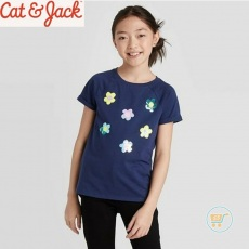 Tshirt Cat & Jack Navy Rosie Flip Sequin