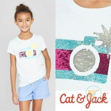 Tshirt Cat & Jack Camera Sunshine Flip Sequin