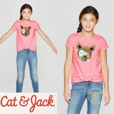 Tshirt Cat & Jack Head Dog Flip Sequin