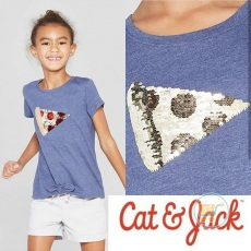 Tshirt Cat & Jack Pizza Flip Sequin