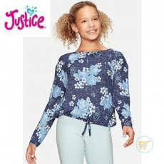 Tshirt Justice Knitted Flower Rose Blue
