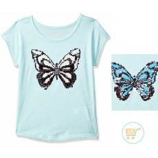 Tshirt Place Butterfly Blue Flip Sequin