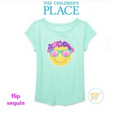 Tshirt Place Happy Smiley Flip Sequin