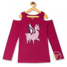 Tshirt Place Unicorn Laama Sequin