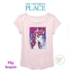 Tshirt Place Unicorn Pink Flip Sequin
