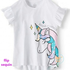 Tshirt Wonder Nation Unicorn White Flip Sequin